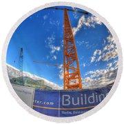 001 Building Buffalo  Round Beach Towel