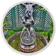 001 Fountain Buffalo Botanical Gardens Series Round Beach Towel