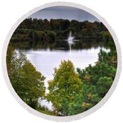 001 Hoyt Lake Autumn 2013 Round Beach Towel