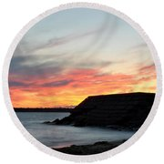0010 Awe In One Sunset Series At Erie Basin Marina Round Beach Towel