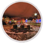 0010 Christmas Light Show At Roswell Series Round Beach Towel