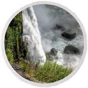 0010 Niagara Falls Misty Blue Series Round Beach Towel