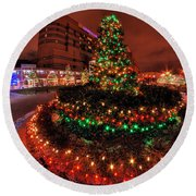 0011 Christmas Light Show At Roswell Series Round Beach Towel