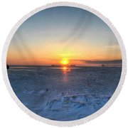 0012 Even On Our Coldest Days We Still Get Blessed With Gorgeous Rays Series Round Beach Towel