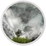 0012 Niagara Falls Misty Blue Series Round Beach Towel