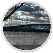 0013 Grand Island Bridge Series Round Beach Towel