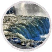 0013 Niagara Falls Winter Wonderland Series Round Beach Towel