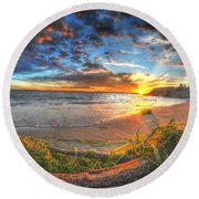 0014 Awe In One Sunset Series At Erie Basin Marina Round Beach Towel