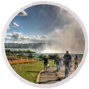 0014 Niagara Falls Misty Blue Series Round Beach Towel