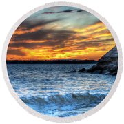 0015 Awe In One Sunset Series At Erie Basin Marina Round Beach Towel
