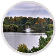 0015 Hoyt Lake Autumn 2013 Round Beach Towel