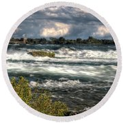 0015 Niagara Falls Misty Blue Series Round Beach Towel