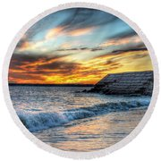 0016 Awe In One Sunset Series At Erie Basin Marina Round Beach Towel