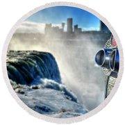 0016 Niagara Falls Winter Wonderland Series Round Beach Towel