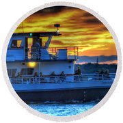 0017 Awe In One Sunset Series At Erie Basin Marina Round Beach Towel