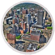 0017 Visual Highs Of The Queen City Round Beach Towel