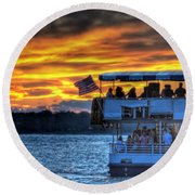 0019 Awe In One Sunset Series At Erie Basin Marina Round Beach Towel