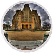 0019 City Hall From Within The Square Round Beach Towel