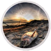 002 After The Ice Melts Erie Basin Marina Series Round Beach Towel