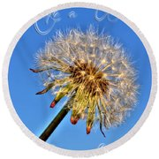 002 Make A Wish With Text Round Beach Towel