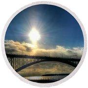 002 Peace Bridge In Passing  Round Beach Towel
