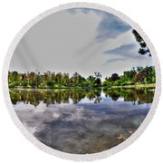 002 Reflecting At Forest Lawn Round Beach Towel