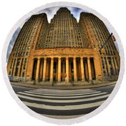 0021 Approaching Our City Hall Round Beach Towel