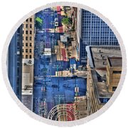 0022 Visual Highs Of The Queen City Round Beach Towel