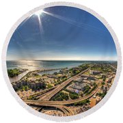 0023 Visual Highs Of The Queen City Round Beach Towel