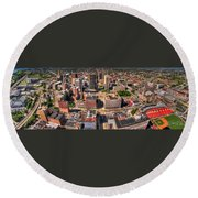0023a Visual Highs Of The Queen City Round Beach Towel