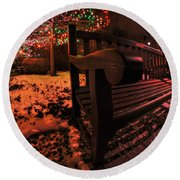 003 Christmas Light Show At Roswell Series Round Beach Towel