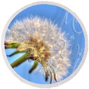 003 Make A Wish With Text Round Beach Towel