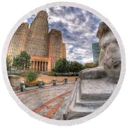 003 Sleeping Lions City Hall View  Round Beach Towel