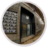 0034 Throwback Shopping Center Of Am And As Round Beach Towel