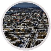 0042 After The Nov 2014 Storm Buffalo Ny Round Beach Towel