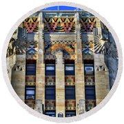 0049 Art Deco City Hall Round Beach Towel