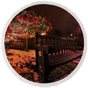 005 Christmas Light Show At Roswell Series Round Beach Towel