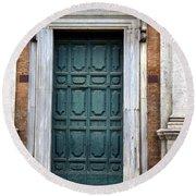 0053 Roman Door 2 Round Beach Towel