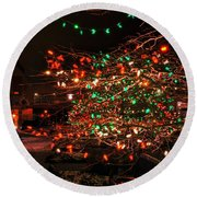 008 Christmas Light Show At Roswell Series Round Beach Towel
