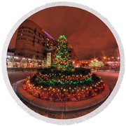 012 Christmas Light Show At Roswell Series Round Beach Towel