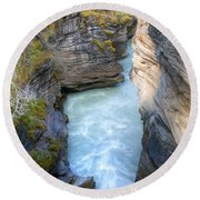0142 Athabasca River Canyon Round Beach Towel