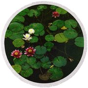 0151-lily -  Colored Photo 1 Round Beach Towel