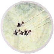 0161 - Air Show - Colored Photo 2 Hp Round Beach Towel
