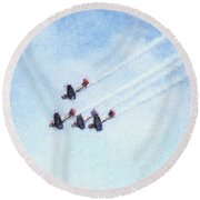 0161 - Air Show - Pastel Chalk 2  Round Beach Towel