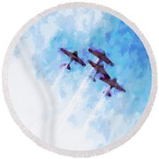 0166 - Air Show - Oil Stain Round Beach Towel