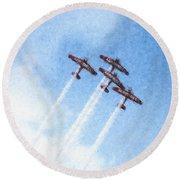 0166 - Air Show - Pastel Chalk 2 Round Beach Towel