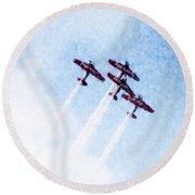 0166 - Air Show - Watercolor 1 Round Beach Towel