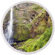 0237 Multnomah Falls Oregon Round Beach Towel