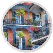 0255 Balconies - New Orleans Round Beach Towel