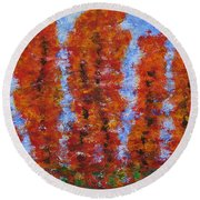 026 Red Trees Round Beach Towel